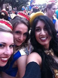 Tulane MPH students Emily Flanigan, Judy Rupp, and Upama Aktaruzzaman, at the Knights of Sparta Parade, February 2014