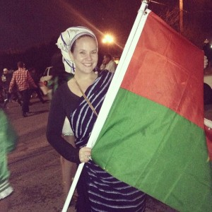 Tulane MCH student Jorie Larson, at the Krewe of Nyx Parade, February 2014. Jorie marched with other Returned Peace Corps Volunteers (RPCV), representing her host country of Burkino Faso, where she served before starting her MPH.