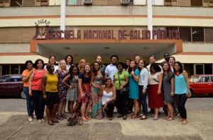 Dr. Arachu Castro leads a public health summer course that brings students to Cuba. Here, students pose in front of the Cuban National School of Public Health. (Photo by Dr. Arachu Castro, Dept. of GCHB)
