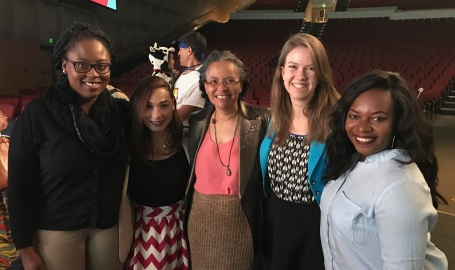 CEMCH Scholars (from left) Shanice Roache, Kiara Cruz, Grace Saul, and Bejan Foretia, with APHA President Dr. Camara Jones (center)