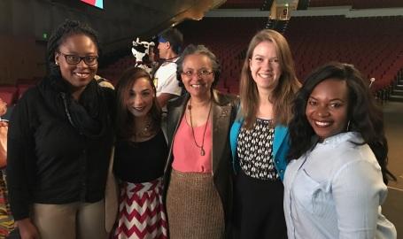 CEMCH Scholars (from left) Shanice Roache, Kiara Cruz, Grace Saul, and Bejan Foretia, with APHA President Dr. Camara Jones (center)