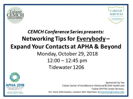 Networking at APHA 2018 flyer-elevator